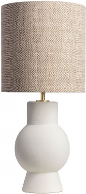 Aster White Table Lamp with Wheat Element Shade