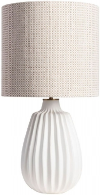 Elder Pure White Table Lamp with Hessian Element Shade