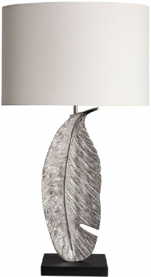 Leaf Nickel Patina Table Lamp with Oyster Glaze Linen Shade