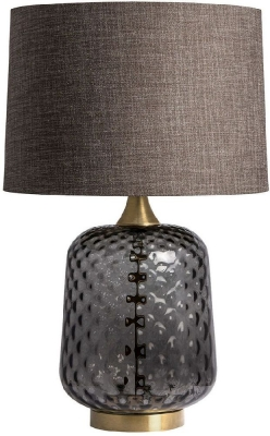 Risco Smoke Glass Table Lamp with Gunmetal Linen Shade