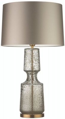 Antero Antique Brass Table Lamp with Stone Satin Shade