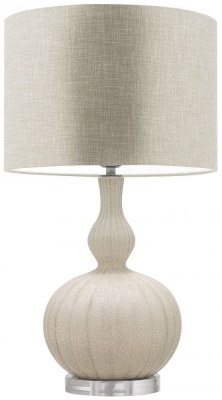 Celine Natural Cream Ceramic Table Lamp with White Linen Shade