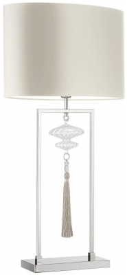 Constance Nickel Glass Table Lamp with Ivory Satin Shade