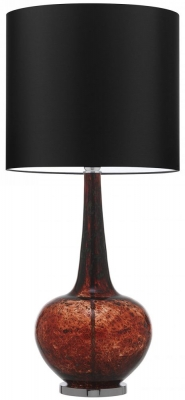Grace Tuscan Red Glass Table Lamp with Black Satin Shade
