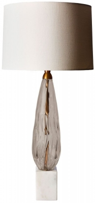Haywood Smoke Glass Table Lamp with Oyster Glaze Linen Shade