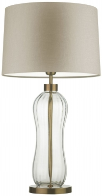 Mae Clear Glass Table Lamp with Stone Glaze Linen Shade