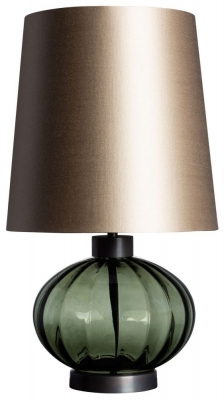 Pedra Moss Glass Table Lamp with Drum Carbonne Satin Shade