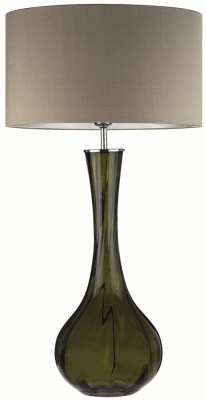 Sophia Olive Glass Table Lamp with Herb Silk Shade