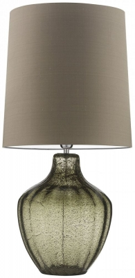 Vivienne Natural Green Glass Large Table Lamp with Herb Silk Shade