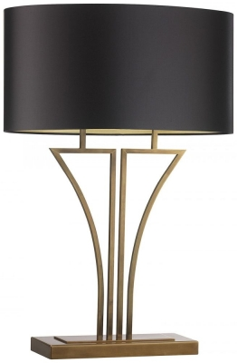 Yves Antique Brass Table Lamp with Mocha Satin Shade