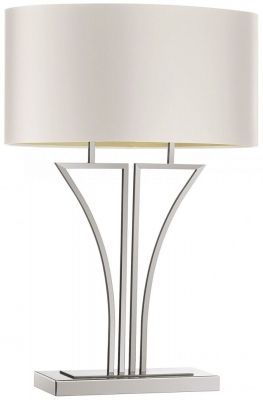 Yves Nickel Table Lamp with Ivory Satin Shade
