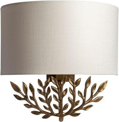 Leaf Brass Patina Wall Sconce with Oyster Glaze Linen Shade