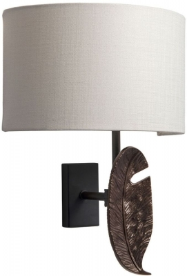 Leaf Bronze Wall Light with Oyster Glaze Linen Shade