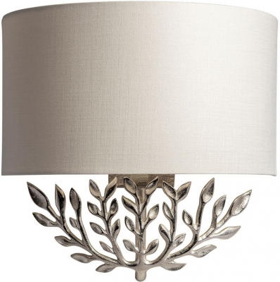 Leaf Nickel Wall Sconce with Oyster Glaze Linen Shade