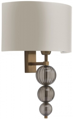 Alette Antique Brass Wall Light with Ivory Satin Shade
