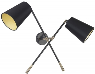 Andro Antique Brass Double Wall Light with Black Satin Shade