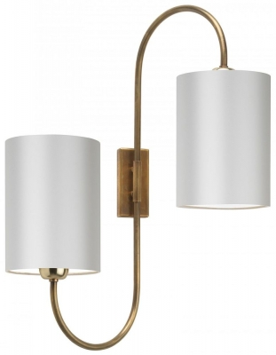 Bronte Antique Brass Wall Light with Ivory Silk Shade