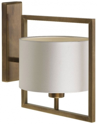 Conniston Antique Brass Wall Light with Ivory Satin Shade