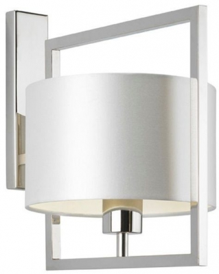 Conniston Nickel Wall Light with Ivory Satin Shade