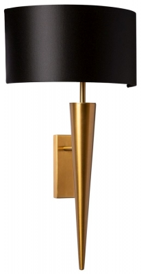 Torchere Antique Brass Wall Light with Black Satin Shade