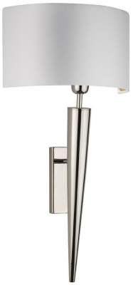 Torchere Nickel Wall Light with Ivory Satin Shade
