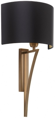 Yves Antique Brass Wall Light with Black Satin Shade