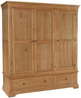 Bayford Oak 3 Door 2 Drawer Triple Wardrobe