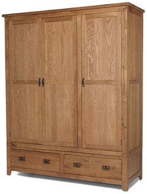 Cherington Oak 3 Door 2 Drawer Wardrobe