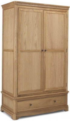 Georgina Natural Oak 2 Door 1 Drawer Wardrobe