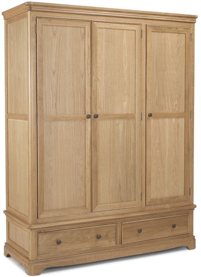 Georgina Natural Oak 3 Door 2 Drawer Wardrobe