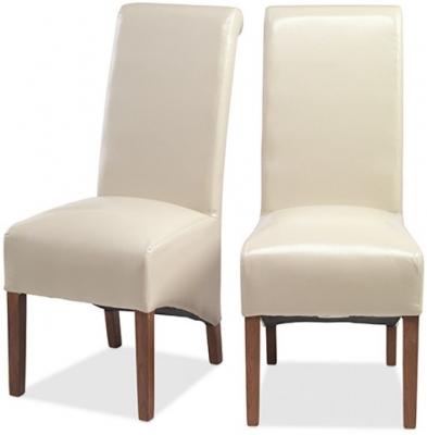 Kuba Sheesham Beige Bycast Leather Dining Chair (Pair)