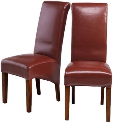 Kuba Sheesham Red Leather Dining Chair (Pair)