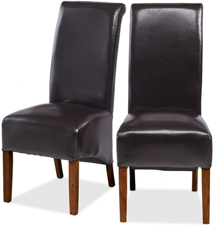 Kuba Sheesham Brown Leather Dining Chair (Pair)