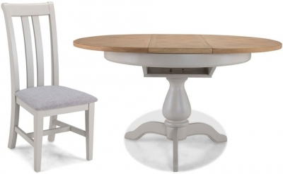Sorrento Grey Painted Round Extending Dining Table with 4 Chairs