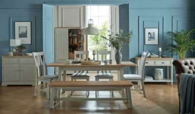 Sorrento Grey Painted Rectangular Extending Dining Set with 4 Chairs and Bench