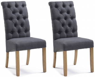 Athens Straight Top Carbon Black Button Back Dining Chair (Pair)
