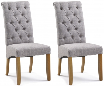 Athens Straight Top Grey Button Back Dining Chair (Pair)