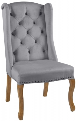 Provo Grey Velvet Wing Chair