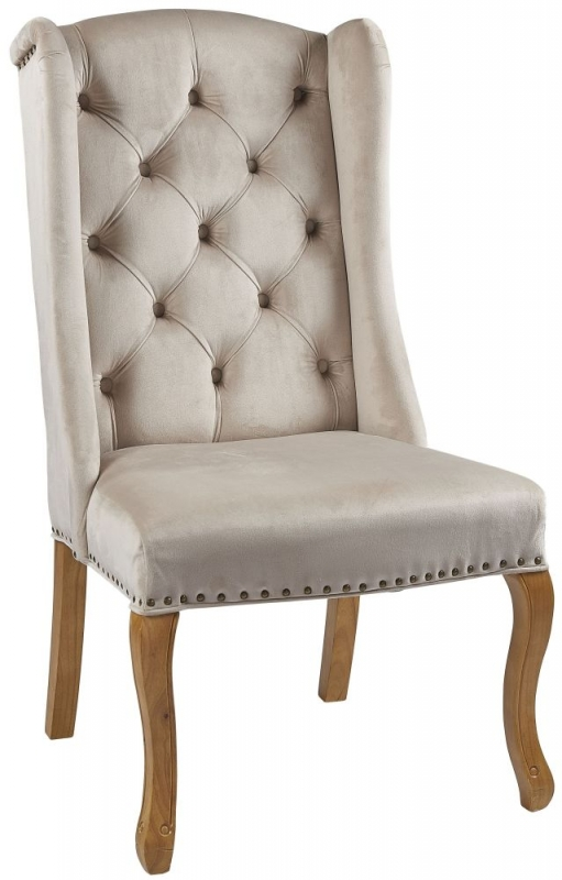 Provo Beige Velvet Wing Chair