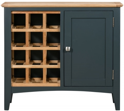 Lowell Oak and Blue Painted Wine Cabinet