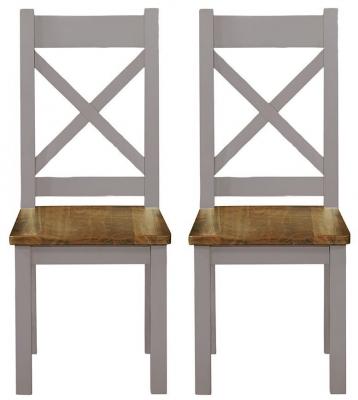 Regatta Grey Painted Cross Back Dining Chair (Pair)