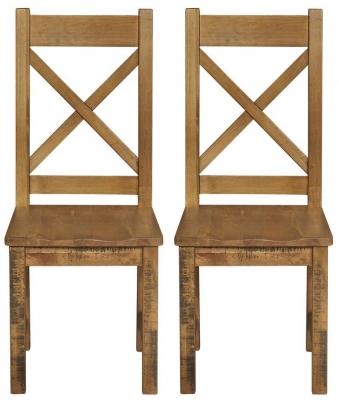 Regatta Rustic Pine Cross Back Dining Chair (Pair)