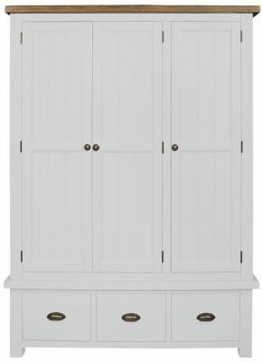 Regatta White Painted 3 Door 3 Drawer Wardrobe