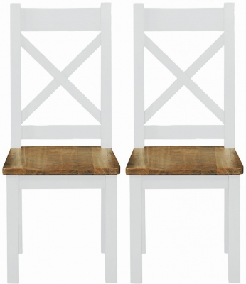 Regatta White Painted Cross Back Dining Chair (Pair)