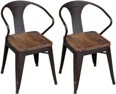 Renton Industrial Metal Dining Chair (Pair)