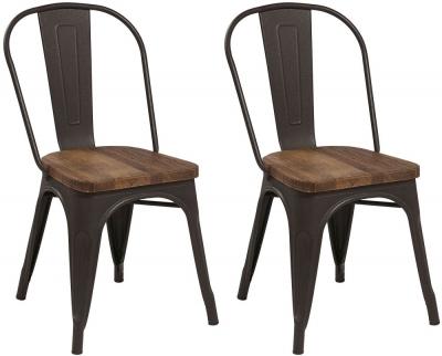 Renton Industrial Metal Solid Back Dining Chair (Pair)