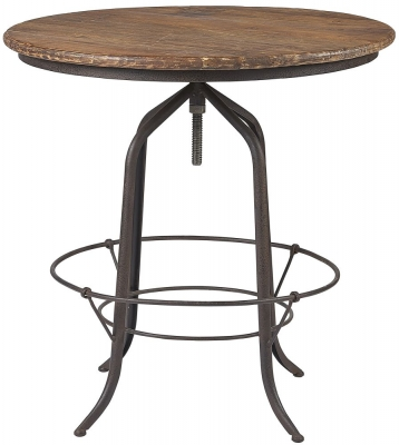 Renton Industrial Reclaimed Elm Revolving Bar Table