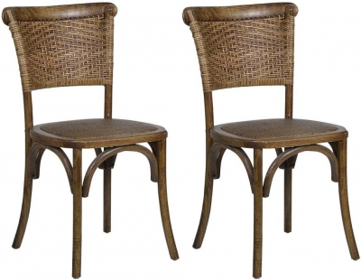 Renton Oak Woven Back Dining Chair (Pair)