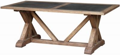 Renton Reclaimed Elm Zinc Top Dining Table