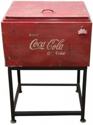 Hand Painted Vintage Coca Cola Cooler Box on Stand